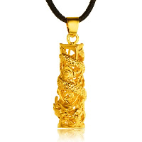 24 k-Gold überzogene hängende Farbe, Messing, Drachen, 24 K vergoldet, Vakuum Protektor Farbe, 12x35mm, Bohrung:ca. 3x5mm, 10PCs/Menge, verkauft von Menge