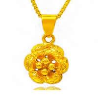 24 k-Gold überzogene hängende Farbe, Messing, Blume, 24 K vergoldet, Vakuum Protektor Farbe, 10x12mm, Bohrung:ca. 3x5mm, 10PCs/Menge, verkauft von Menge