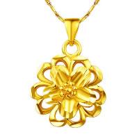 24 k-Gold überzogene hängende Farbe, Messing, Blume, 24 K vergoldet, Vakuum Protektor Farbe, 17x18mm, Bohrung:ca. 3x5mm, 10PCs/Menge, verkauft von Menge