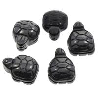 schwarzer Stein Perle, Schildkröter, 16x20x9mm, Bohrung:ca. 1mm, 50PCs/Tasche, verkauft von Tasche