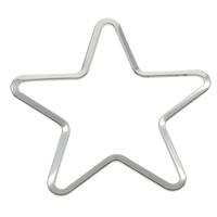 Edelstahl Verbindungsring, Stern, originale Farbe, 40x39x1mm, Bohrung:ca. 30-35mm, 100PCs/Tasche, verkauft von Tasche