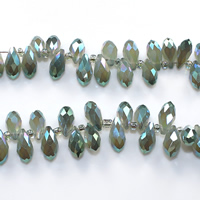 Tropfen Kristallperlen, Kristall, mit Glas-Rocailles, bunte Farbe plattiert, facettierte, 6x12mm, Bohrung:ca. 0.5mm, Länge:ca. 15 ZollInch, 10SträngeStrang/Menge, ca. 100PCs/Strang, verkauft von Menge
