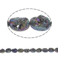 Druzy Beads, Eisquarz Achat, flachoval, natürlich, druzy Stil, farbenfroh, 18x13x8mm, Bohrung:ca. 1mm, 11PCs/Strang, verkauft per ca. 7.5 ZollInch Strang