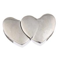 Zinklegierung Magnetverschluss, Herz, Platinfarbe platiniert, frei von Blei & Kadmium, 28x17x6mm, Bohrung:ca. 12x3mm, verkauft von PC