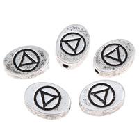 Zinklegierung flache Perlen, flachoval, antik silberfarben plattiert, verschiedene Größen vorhanden, frei von Blei & Kadmium, Bohrung:ca. 1mm, 10PCs/Tasche, verkauft von Tasche