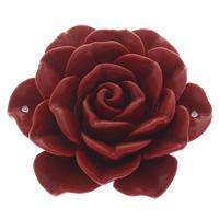 Cinnabaris Schmuckverbinder, Blume, 1/1-Schleife, rot, 46x46x18mm, Bohrung:ca. 1mm, 10PCs/Tasche, verkauft von Tasche