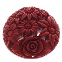 Cinnabaris Schmuckverbinder, Blume, 1/1-Schleife, rot, 51x13mm, Bohrung:ca. 1mm, 10PCs/Tasche, verkauft von Tasche