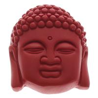 Zinnober Anhänger, Cinnabaris, Buddha, buddhistischer Schmuck, rot, 37x45x13mm, Bohrung:ca. 1mm, 10PCs/Tasche, verkauft von Tasche