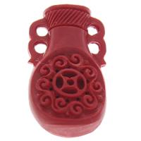 Cinnabaris Schmuckverbinder, Vase, 2/2-Schleife, rot, 18x32x10mm, Bohrung:ca. 2mm, 10PCs/Tasche, verkauft von Tasche