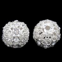 Strass Zinklegierung Perlen, Trommel, silberfarben plattiert, mit Strass, frei von Blei & Kadmium, 17x18mm, Bohrung:ca. 2mm, 5PCs/Tasche, verkauft von Tasche