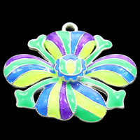 Cloisonné Anhänger, Blume, handgemacht, frei von Blei & Kadmium, 33x27x4mm, Bohrung:ca. 2mm, verkauft von PC