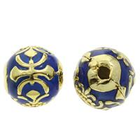 Cloisonne Perlen, Cloisonné, rund, handgemacht, frei von Blei & Kadmium, 10x9mm, Bohrung:ca. 1mm, verkauft von PC