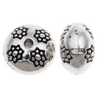 Zinklegierung flache Perlen, flache Runde, verchromt, frei von Blei & Kadmium, 7x10mm, Bohrung:ca. 1mm, ca. 40PCs/Tasche, verkauft von Tasche