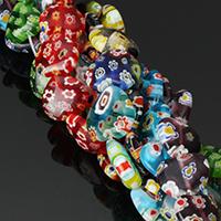 Murano Millefiori Lampwork Perle, Herz, handgemacht, verschiedene Größen vorhanden, keine, Bohrung:ca. 1mm, Länge:ca. 15.5 ZollInch, verkauft von Menge