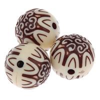 Antike Acrylperlen, Acryl, rund, antik imitieren, beige, 19mm, Bohrung:ca. 3mm, ca. 100PCs/Tasche, verkauft von Tasche