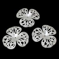 ABS-Kunststoff-Perlen Perlen Kappe Einstellung, Blume, weiß, 65x61x11mm, Bohrung:ca. 2mm, Innendurchmesser:ca. 1mm, ca. 79PCs/Tasche, verkauft von Tasche