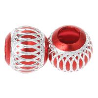 Aluminium Perlen, Trommel, Elektrophorese, Blume Schnitt, rot, 13x11.5mm, Bohrung:ca. 2mm, 100PCs/Tasche, verkauft von Tasche