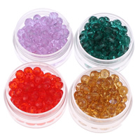Rondell Kristallperlen, Kristall, facettierte, mehrere Farben vorhanden, 6x5mm, Bohrung:ca. 1mm, 100PCs/Tasche, verkauft von Tasche