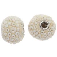 Indonesien Perlen, mit Glas-Rocailles & Zinklegierung, Trommel, beige, 16x17mm, Bohrung:ca. 3mm, verkauft von PC