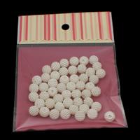 ABS-Kunststoff-Perlen Perle, mit OPP, rund, abnehmbare, weiß, 10mm, Bohrung:ca. 1mm, 50PCs/Tasche, verkauft von Tasche