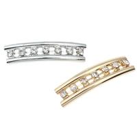 Messing Rohr Perlen, gebogenes Rohr, plattiert, mit Strass & Doppelloch, keine, frei von Blei & Kadmium, 35x9x4mm, Bohrung:ca. 2mm, verkauft von PC