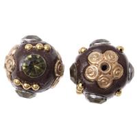 Indonesien Perlen, Zinklegierung, mit Indonesien, goldfarben plattiert, mit Strass, frei von Blei & Kadmium, 15x18mm, Bohrung:ca. 1mm, verkauft von PC