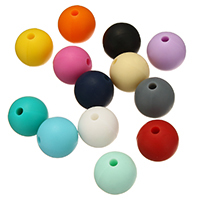 Silikon-Perlen, Silikon, rund, FDA-Zulassung, keine, frei von Nickel, Blei & Kadmium, 10mm, Bohrung:ca. 2mm, 100PCs/Tasche, verkauft von Tasche