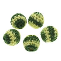 Gewebte Glasperlen, Wolle, mit Kunststoff, rund, handgemacht, grün, 15mm, Bohrung:ca. 3mm, 100PCs/Tasche, verkauft von Tasche