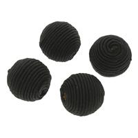 Gewebte Glasperlen, Nylon, mit Holz, rund, handgemacht, großes Loch, schwarz, 22x21mm, Bohrung:ca. 4mm, 100PCs/Tasche, verkauft von Tasche