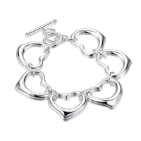 comeon® Schmuck Armband, Messing, Herz, versilbert, frei von Nickel, Blei & Kadmium, 25mm, verkauft per ca. 7.8 ZollInch Strang