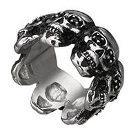 Edelstahl Herren-Fingerring, 316 Edelstahl, Schädel, verschiedene Größen vorhanden & mit Strass & Schwärzen, 14.50x4mm, 5PCs/Menge, verkauft von Menge