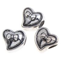 Verkupferter Kunststoff European Perlen, Herz, antik silberfarben plattiert, ohne troll, 13x13x12mm, Bohrung:ca. 4mm, 1000PCs/Tasche, verkauft von Tasche