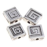 Verkupfertes Kunststoff-Perlen, Verkupferter Kunststoff, Quadrat, antik silberfarben plattiert, 9x4mm, Bohrung:ca. 1mm, 1000PCs/Tasche, verkauft von Tasche