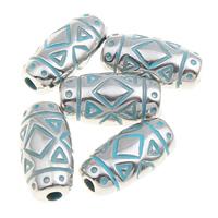 Verkupfertes Kunststoff-Perlen, Verkupferter Kunststoff, oval, Bläu, 4x11mm, Bohrung:ca. 1mm, 1000PCs/Tasche, verkauft von Tasche