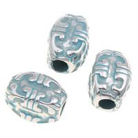 Verkupfertes Kunststoff-Perlen, Verkupferter Kunststoff, oval, Bläu, 10x14mm, Bohrung:ca. 2mm, 1000PCs/Tasche, verkauft von Tasche