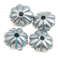 Verkupfertes Kunststoff-Perlen, Verkupferter Kunststoff, Blume, Bläu, 8x5mm, Bohrung:ca. 1mm, ca. 3000PCs/Tasche, verkauft von Tasche