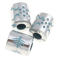 Verkupfertes Kunststoff-Perlen, Verkupferter Kunststoff, Zylinder, Bläu, 8x10mm, Bohrung:ca. 3mm, 1000PCs/Tasche, verkauft von Tasche
