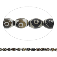 Tibetan Achat Perle, oval, Kaffeefarbe, 12x16mm, Bohrung:ca. 1.5mm, 22PCs/Strang, verkauft per ca. 14 ZollInch Strang
