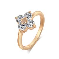 Gets® Finger Ring, Messing, Blume, vergoldet, verschiedene Größen vorhanden & mit kubischem Zirkonia & facettierte, frei von Nickel, Blei & Kadmium, 11mm, verkauft von PC