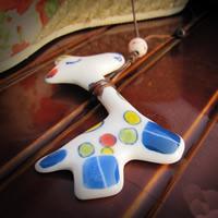 Porzellan-Anhänger, Porzellan, Giraffe, Handzeichnung, 10-20mm, Bohrung:ca. 1-3mm, verkauft von PC