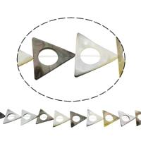 Schwarze Muschelperlen, Dreieck, natürlich, Doppelloch, 29x25x2mm, Bohrung:ca. 1mm, ca. 16PCs/Strang, verkauft per ca. 15.5 ZollInch Strang