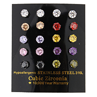 Zirkonia Ohrstecker, Edelstahl, mit kubischem Zirkonia & facettierte, gemischte Farben, 6x6x14.50mm, 10PaarePärchen/Box, verkauft von Box