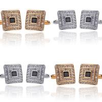 Manschettenknöpfe, Zinklegierung, Quadrat, plattiert, mit Strass, keine, frei von Blei & Kadmium, 18x18mm, verkauft von Paar