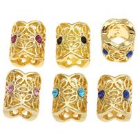 Strass Zinklegierung Perlen, Zylinder, goldfarben plattiert, mit Strass & großes Loch, keine, frei von Blei & Kadmium, 11x10mm, Bohrung:ca. 6mm, 10PCs/Tasche, verkauft von Tasche