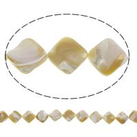 Natürliche gelbe Muschelperlen, Rhombus, 19x4mm-21x5mm, Bohrung:ca. 1mm, ca. 21PCs/Strang, verkauft per ca. 15.5 ZollInch Strang