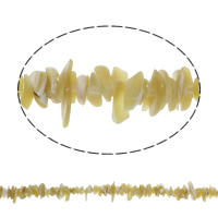 Natürliche gelbe Muschelperlen, Bruchstück, 1x6x7mm-7x12x8mm, Bohrung:ca. 1mm, ca. 240PCs/Strang, verkauft per ca. 34.5 ZollInch Strang