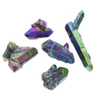 Natürliche Eis Quarz Achat Perlen, Eisquarz Achat, Klumpen, bunte Farbe plattiert, kein Loch, blau, Grad AAA, 25x35x15mm-35x85x14mm, 10PCs/Tasche, verkauft von Tasche