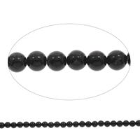 Schwarze Stein Perlen, schwarzer Stein, rund, verschiedene Größen vorhanden, Bohrung:ca. 1mm, Länge:ca. 15 ZollInch, verkauft von Tasche