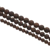 Mahagoni Obsidian Perlen, mahagonibrauner Obsidian, rund, verschiedene Größen vorhanden, Bohrung:ca. 1mm, Länge:ca. 15 ZollInch, verkauft von Tasche