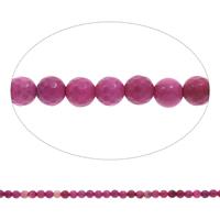 Natürliche Rosa Achat Perlen, rund, facettierte, 6mm, Bohrung:ca. 1mm, Länge:ca. 15 ZollInch, 5SträngeStrang/Tasche, ca. 65PCs/Strang, verkauft von Tasche